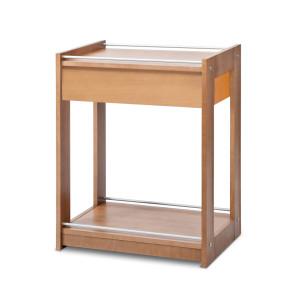 Gueridon en bois 2 etageres+tiroir