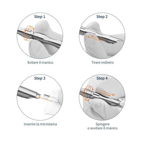 Manico universale in Acciaio Inox per microlame Tecniwork misura 2-2,5-3