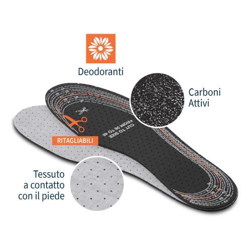 Solette deodoranti e traspiranti ai Carboni attivi 1 paio