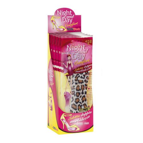Solette ¾ in schiuma fantasia Leopard Night and Day Espositore da 6 paia