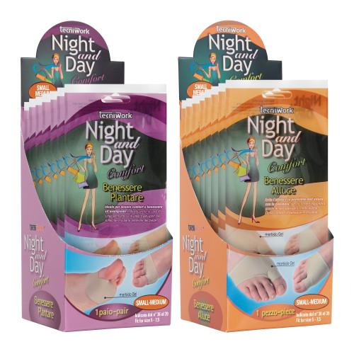 Cuscinetti Benessere Alluce e Benessere Plantare Night and Day Espositore da 24 confezioni