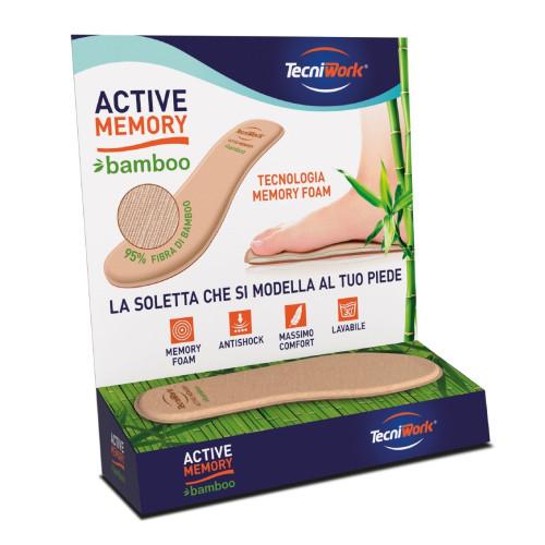 Solette con rivestimento in fibra di bambù Active Memory Bamboo Espositore da 30 paia