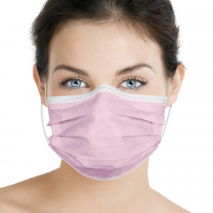Mascherina chirurgica monouso in TNT a 3 strati Rosa 10 pz