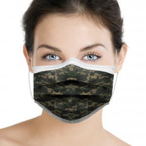 Mascherina chirurgica monouso in TNT a 3 strati verde militare 10 pz