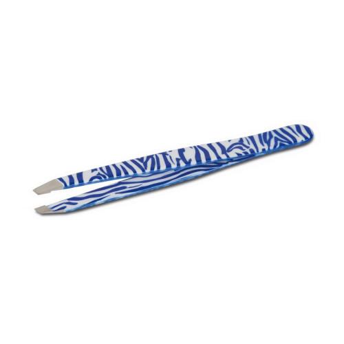 Pinzetta professionale per sopracciglia Zebra Blu con Punta Obliqua