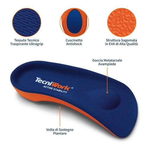 Soletta 3/4 semiflessibile Semiflex Comfort Plus Active Stability Misura L 1 paio